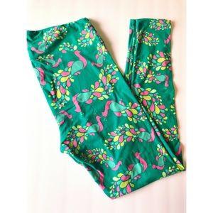 Pink/Green/Yellow Peacock TC Lularoe Leggings